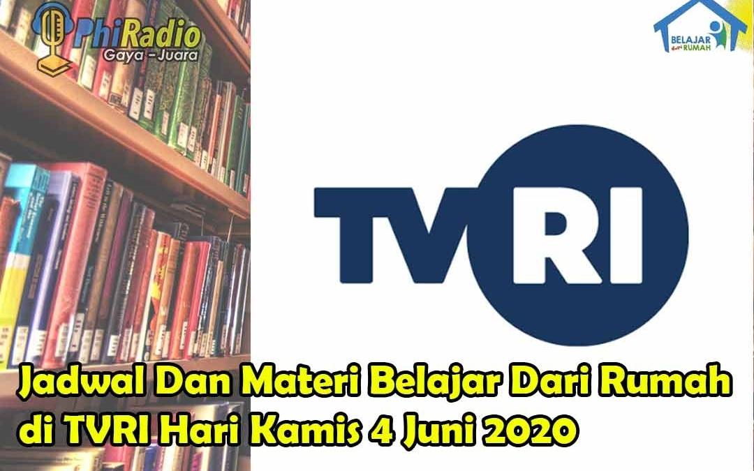 Materi Dan Pembahasan Belajar Dari Rumah di TVRI Hari Kamis 4 Juni 2020