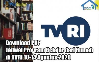 Download PDF Jadwal Program Belajar dari Rumah di TVRI 10-14 Agustus 2020