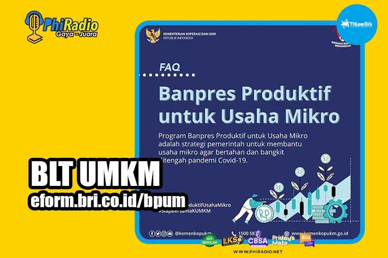 BLT UMKM Online 2021 Rp 2,4 Juta eform.bri.co.id