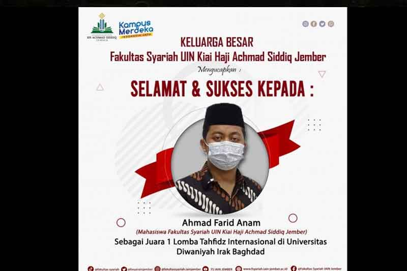 Ahmad Farid Anam, Mahasiswa UIN KHAS Jember Sabet Juara MHQ Internasional